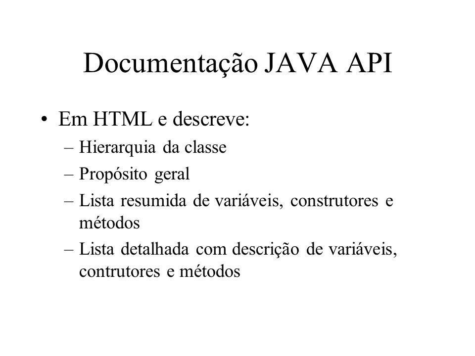 Documentação JAVA API Em HTML e descreve: –Hierarquia da classe –Propósito geral –Lista resumida de variáveis, construtores e métodos –Lista detalhada