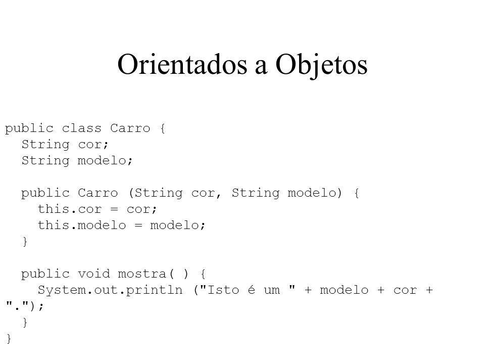 Orientados a Objetos public class Carro { String cor; String modelo; public Carro (String cor, String modelo) { this.cor = cor; this.modelo = modelo;