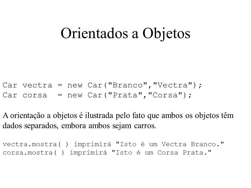 Orientados a Objetos Car vectra = new Car(