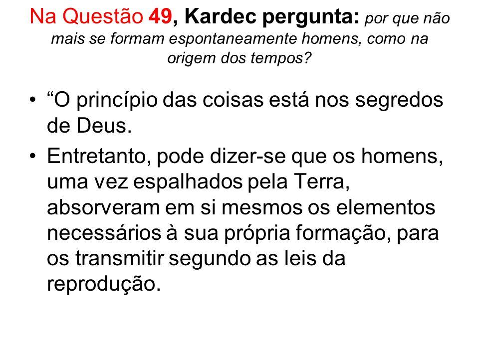 Na Questão 49, Kardec pergunta: por que não mais se formam espontaneamente homens, como na origem dos tempos? O princípio das coisas está nos segredos