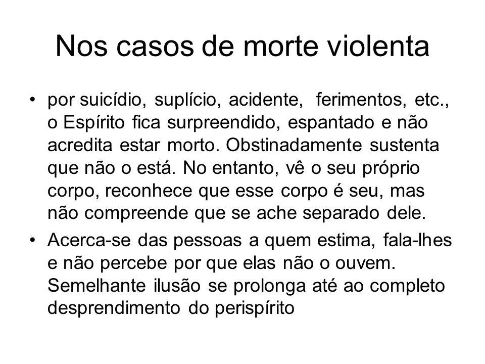 Nos casos de morte violenta por suicídio, suplício, acidente, ferimentos, etc., o Espírito fica surpreendido, espantado e não acredita estar morto.