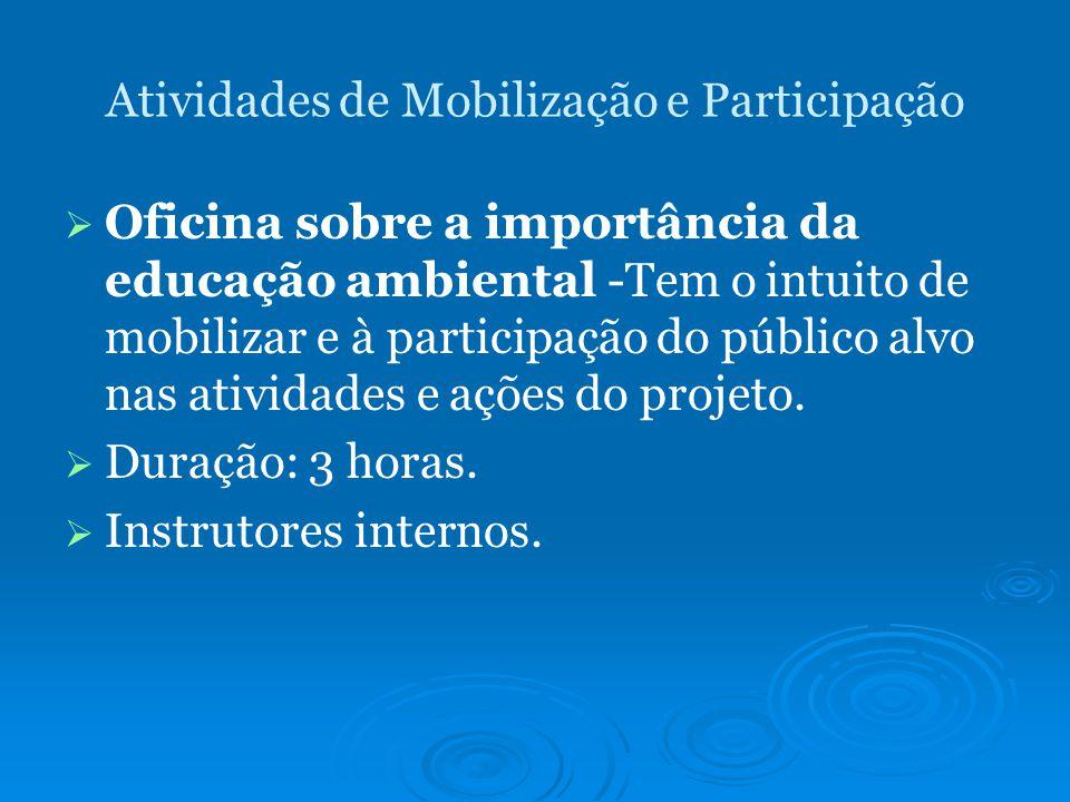 Atividades de Mobilização e Participação Oficina sobre a importância da educação ambiental -Tem o intuito de mobilizar e à participação do público alvo nas atividades e ações do projeto.