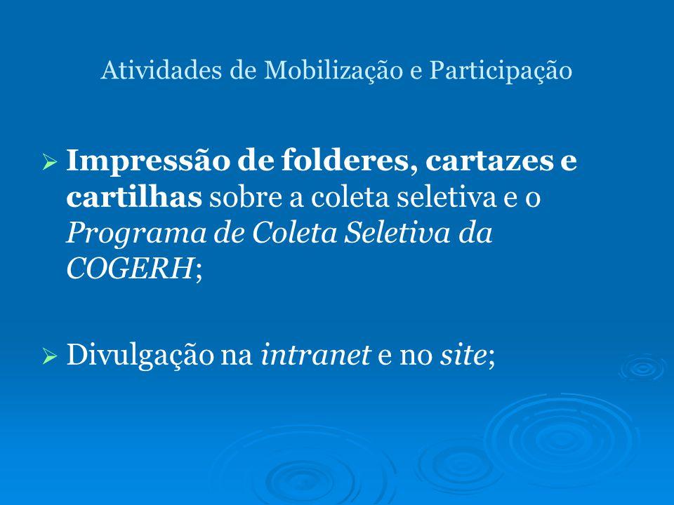 Atividades de Mobilização e Participação Impressão de folderes, cartazes e cartilhas sobre a coleta seletiva e o Programa de Coleta Seletiva da COGERH; Divulgação na intranet e no site;