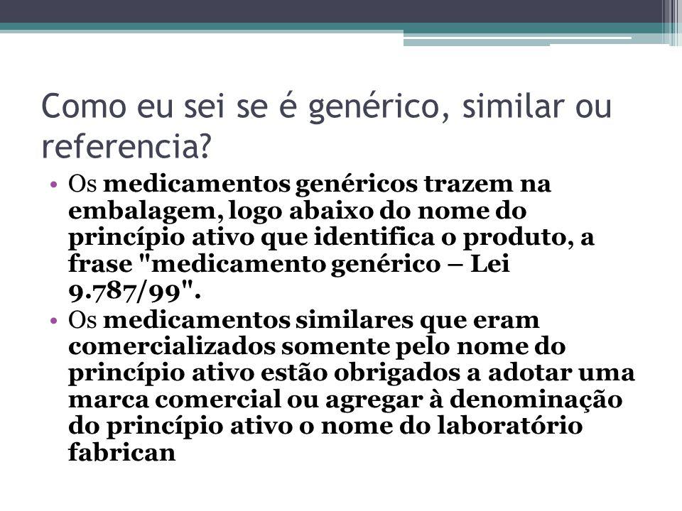 Como eu sei se é genérico, similar ou referencia? Os medicamentos genéricos trazem na embalagem, logo abaixo do nome do princípio ativo que identifica