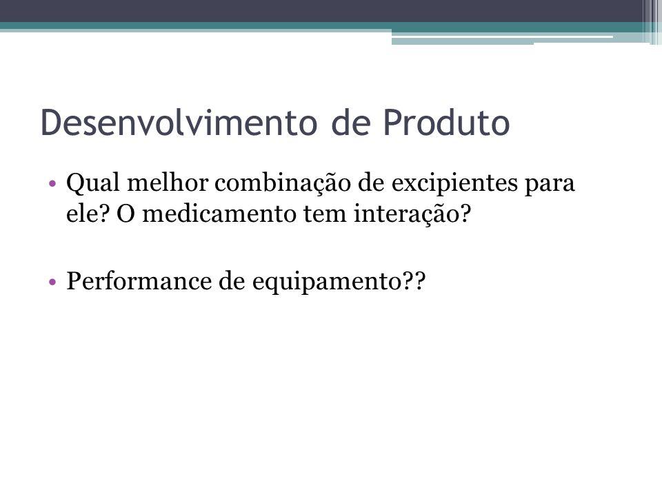 Desenvolvimento de Produto Qual melhor combinação de excipientes para ele? O medicamento tem interação? Performance de equipamento??