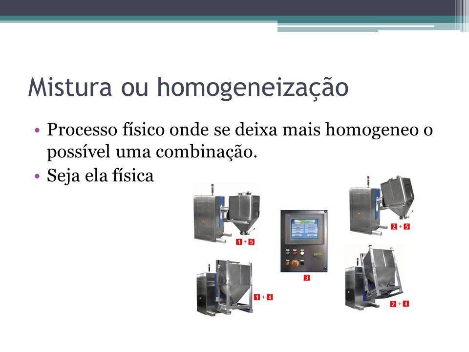 Mistura ou homogeneização Processo físico onde se deixa mais homogeneo o possível uma combinação. Seja ela física