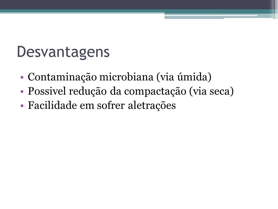 Desvantagens Contaminação microbiana (via úmida) Possivel redução da compactação (via seca) Facilidade em sofrer aletrações