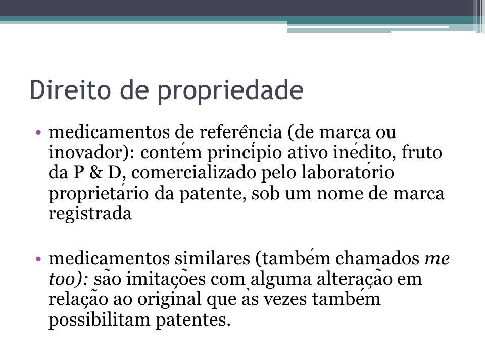 Direito de propriedade medicamentos de refere ̂ ncia (de marca ou inovador): contem principio ativo inedito, fruto da P & D, comercializado pelo labor