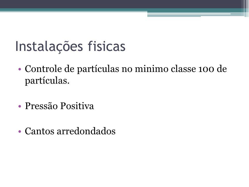Instalações fisicas Controle de partículas no minimo classe 100 de partículas. Pressão Positiva Cantos arredondados