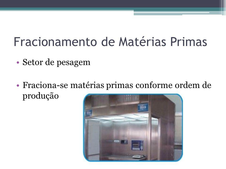 Fracionamento de Matérias Primas Setor de pesagem Fraciona-se matérias primas conforme ordem de produção
