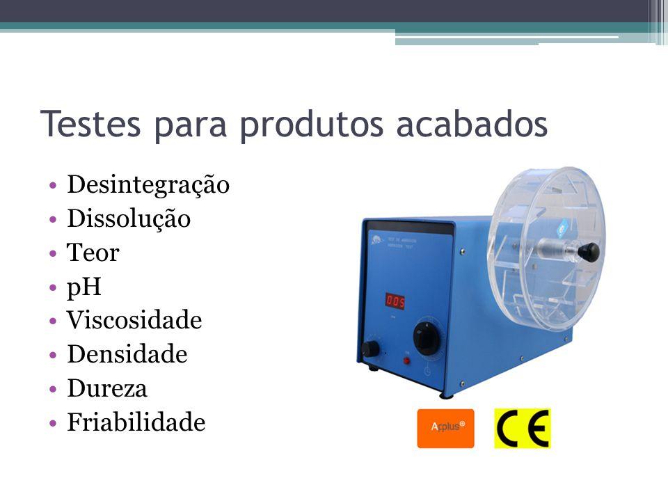 Testes para produtos acabados Desintegração Dissolução Teor pH Viscosidade Densidade Dureza Friabilidade