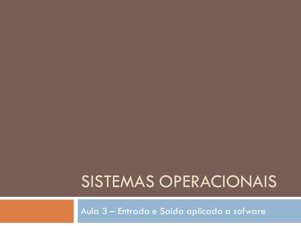 SISTEMAS OPERACIONAIS Aula 3 – Entrada e Saida aplicada a sofware