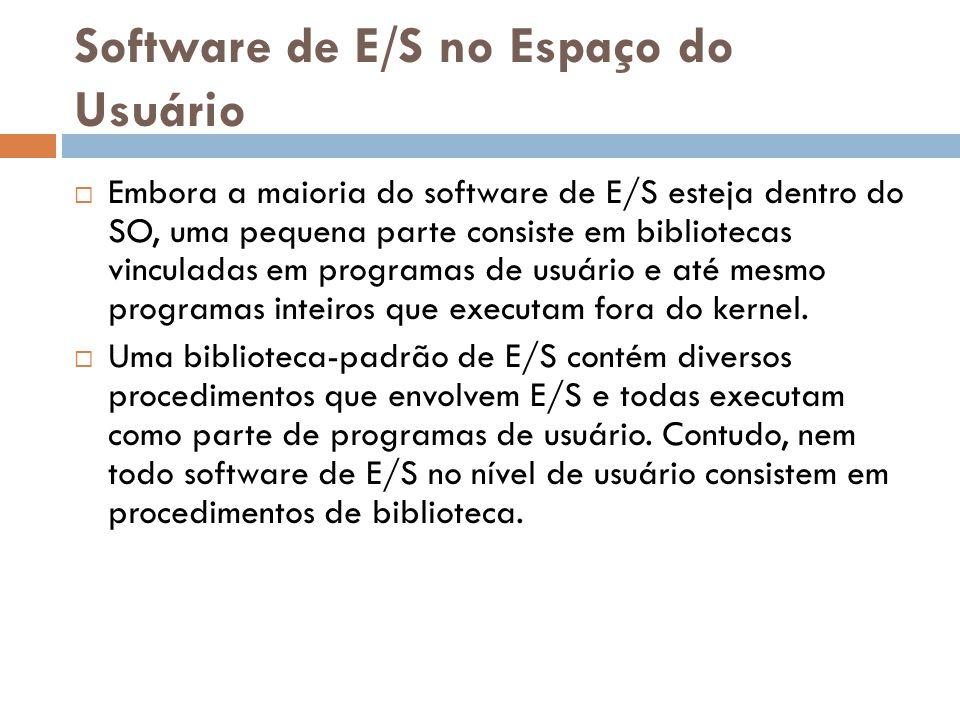 Software de E/S no Espaço do Usuário Embora a maioria do software de E/S esteja dentro do SO, uma pequena parte consiste em bibliotecas vinculadas em