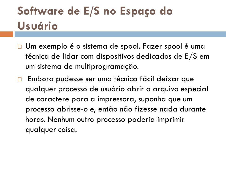 Software de E/S no Espaço do Usuário Um exemplo é o sistema de spool. Fazer spool é uma técnica de lidar com dispositivos dedicados de E/S em um siste