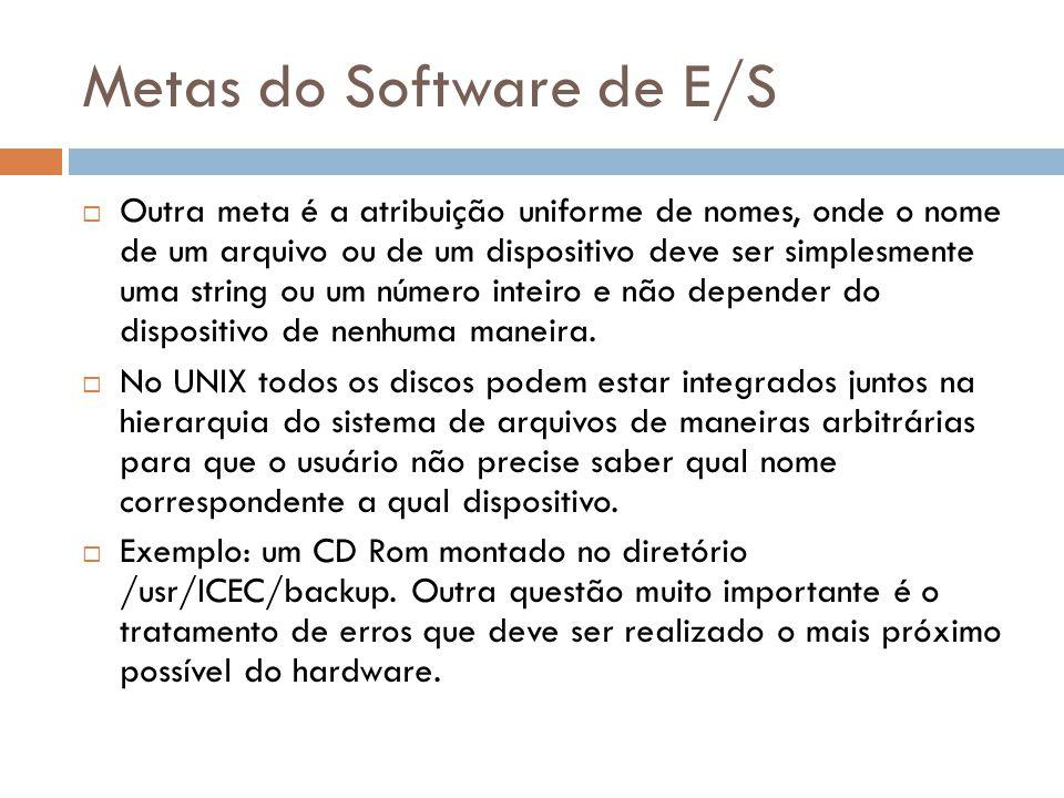 Metas do Software de E/S Outra meta é a atribuição uniforme de nomes, onde o nome de um arquivo ou de um dispositivo deve ser simplesmente uma string