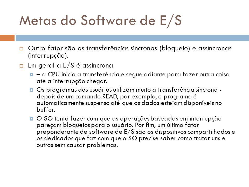 Metas do Software de E/S Outro fator são as transferências síncronas (bloqueio) e assíncronas (interrupção). Em geral a E/S é assíncrona – a CPU inici