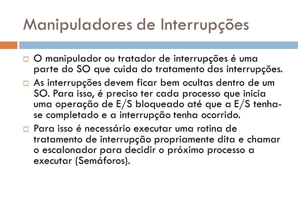 Manipuladores de Interrupções O manipulador ou tratador de interrupções é uma parte do SO que cuida do tratamento das interrupções. As interrupções de