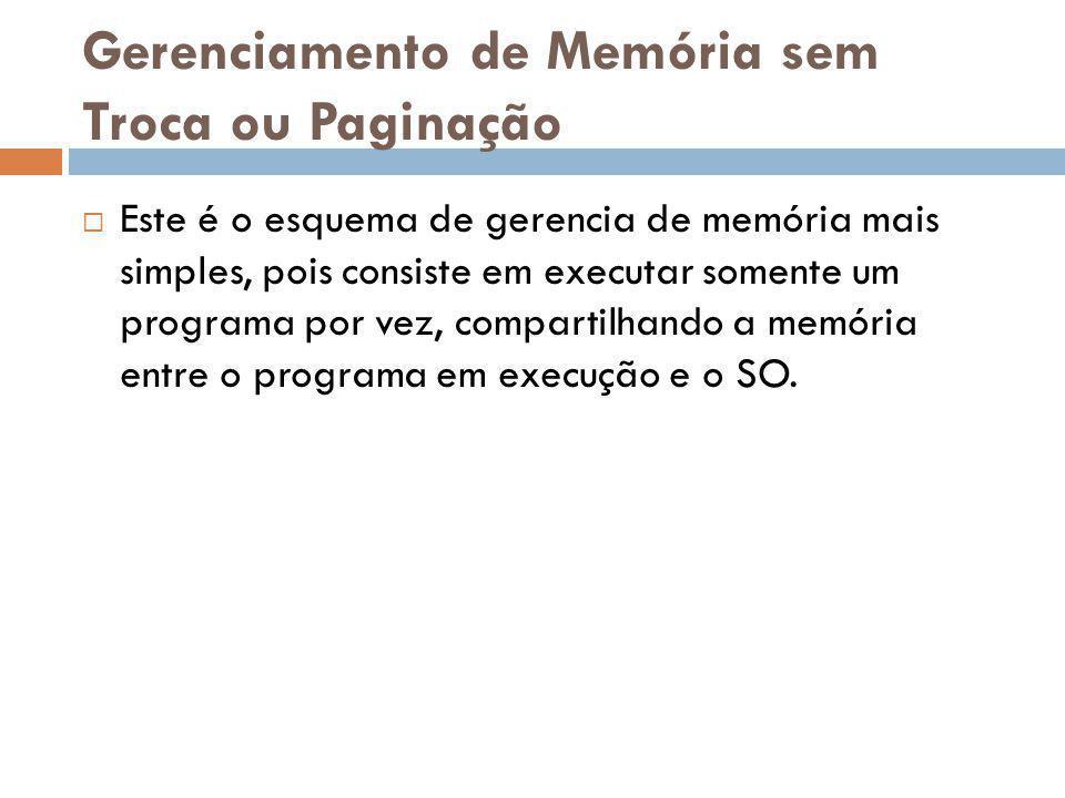 Gerenciamento de Memória sem Troca ou Paginação Este é o esquema de gerencia de memória mais simples, pois consiste em executar somente um programa po