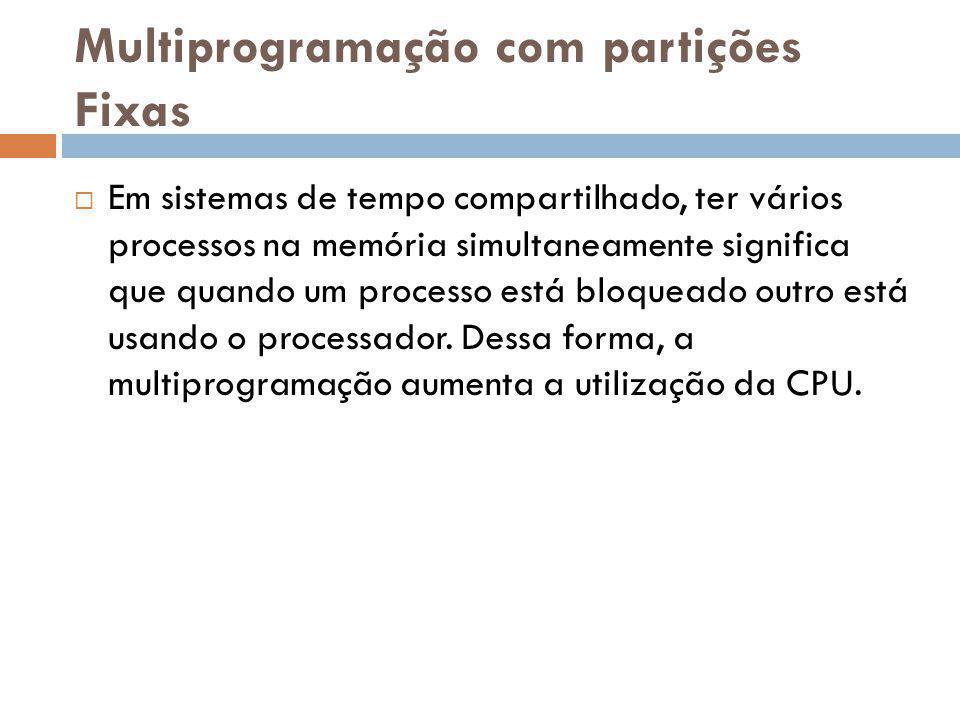 Multiprogramação com partições Fixas Em sistemas de tempo compartilhado, ter vários processos na memória simultaneamente significa que quando um proce