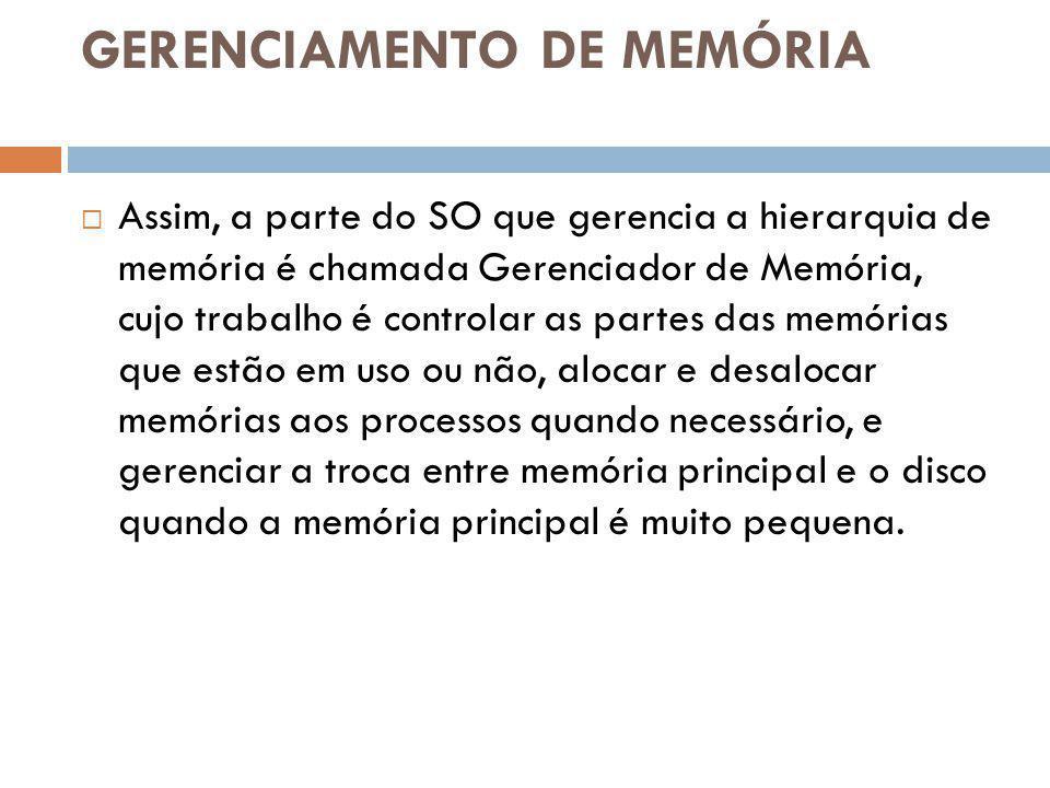 GERENCIAMENTO DE MEMÓRIA Assim, a parte do SO que gerencia a hierarquia de memória é chamada Gerenciador de Memória, cujo trabalho é controlar as part