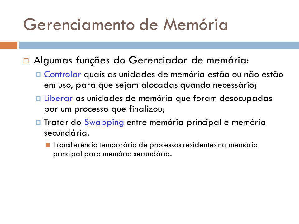 Gerenciamento de Memória Algumas funções do Gerenciador de memória: Controlar quais as unidades de memória estão ou não estão em uso, para que sejam a