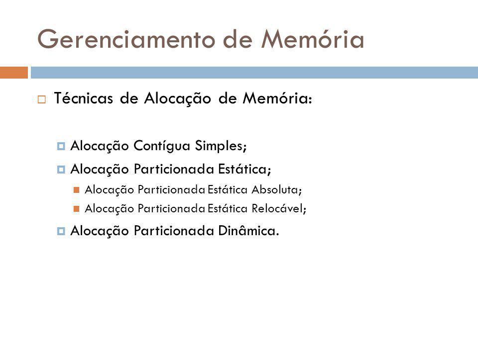 Gerenciamento de Memória Técnicas de Alocação de Memória: Alocação Contígua Simples; Alocação Particionada Estática; Alocação Particionada Estática Ab
