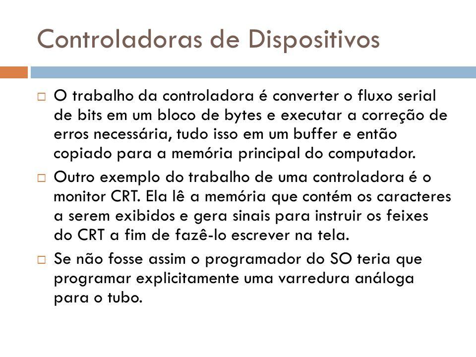 Controladoras de Dispositivos O trabalho da controladora é converter o fluxo serial de bits em um bloco de bytes e executar a correção de erros necess