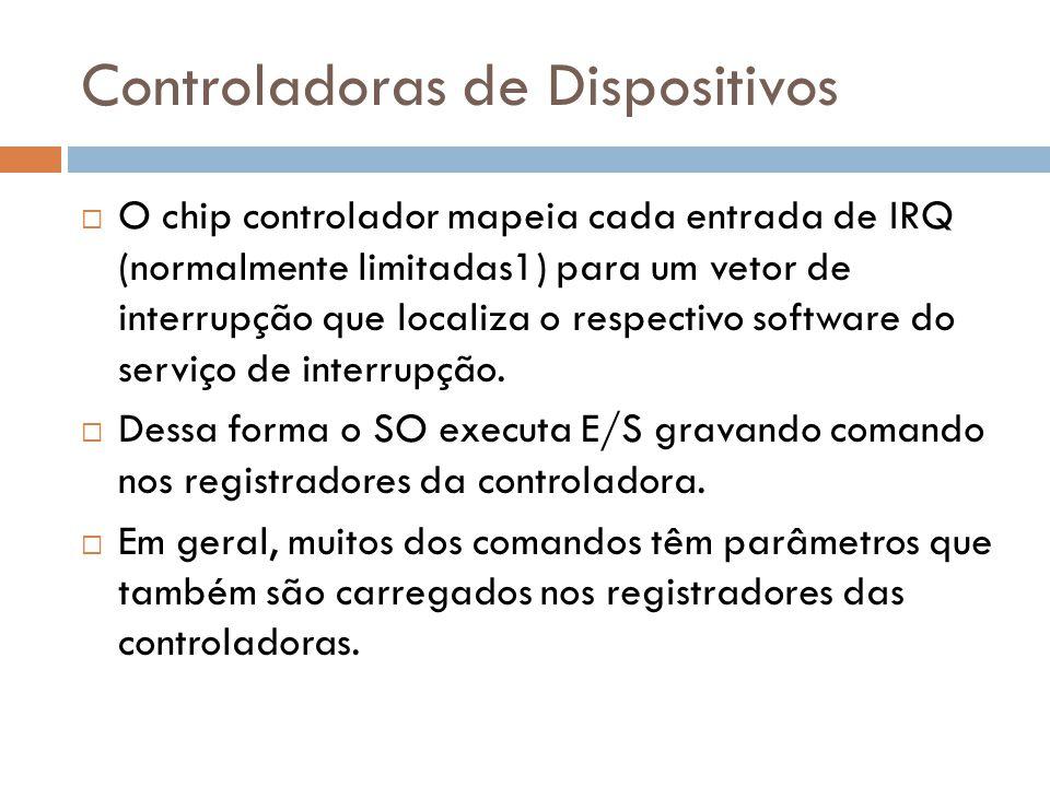 Controladoras de Dispositivos O chip controlador mapeia cada entrada de IRQ (normalmente limitadas1) para um vetor de interrupção que localiza o respe