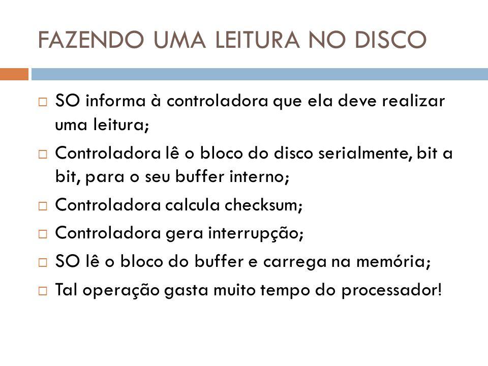 FAZENDO UMA LEITURA NO DISCO SO informa à controladora que ela deve realizar uma leitura; Controladora lê o bloco do disco serialmente, bit a bit, par