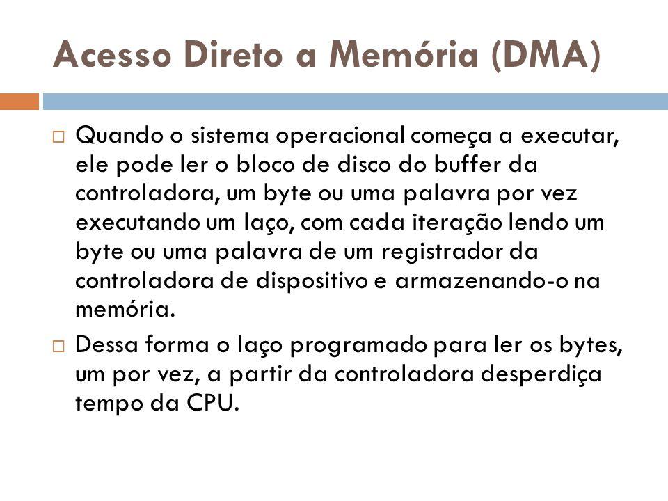 Acesso Direto a Memória (DMA) Quando o sistema operacional começa a executar, ele pode ler o bloco de disco do buffer da controladora, um byte ou uma