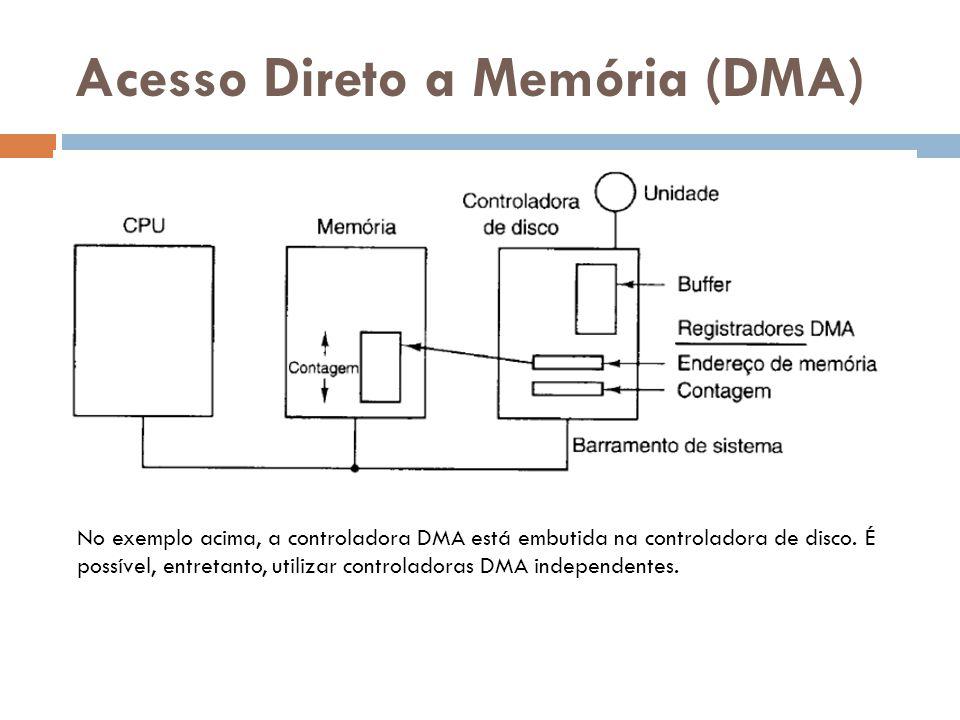 Acesso Direto a Memória (DMA) No exemplo acima, a controladora DMA está embutida na controladora de disco. É possível, entretanto, utilizar controlado