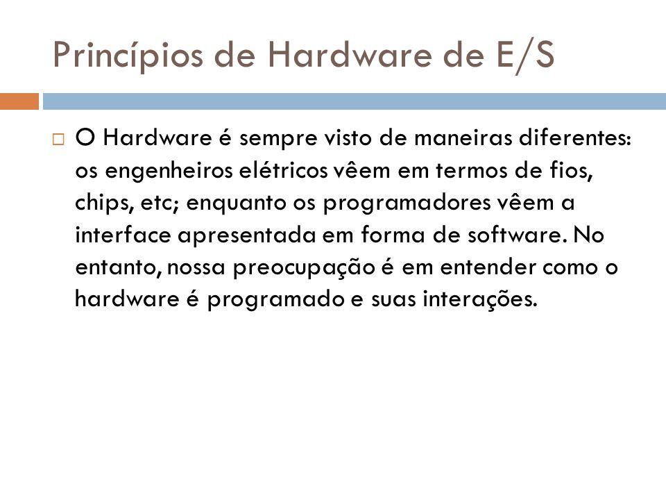 Princípios de Hardware de E/S O Hardware é sempre visto de maneiras diferentes: os engenheiros elétricos vêem em termos de fios, chips, etc; enquanto