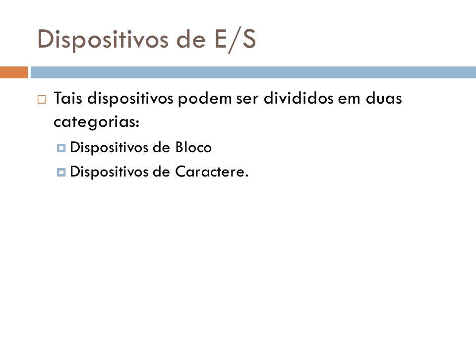 Dispositivos de E/S Tais dispositivos podem ser divididos em duas categorias: Dispositivos de Bloco Dispositivos de Caractere.