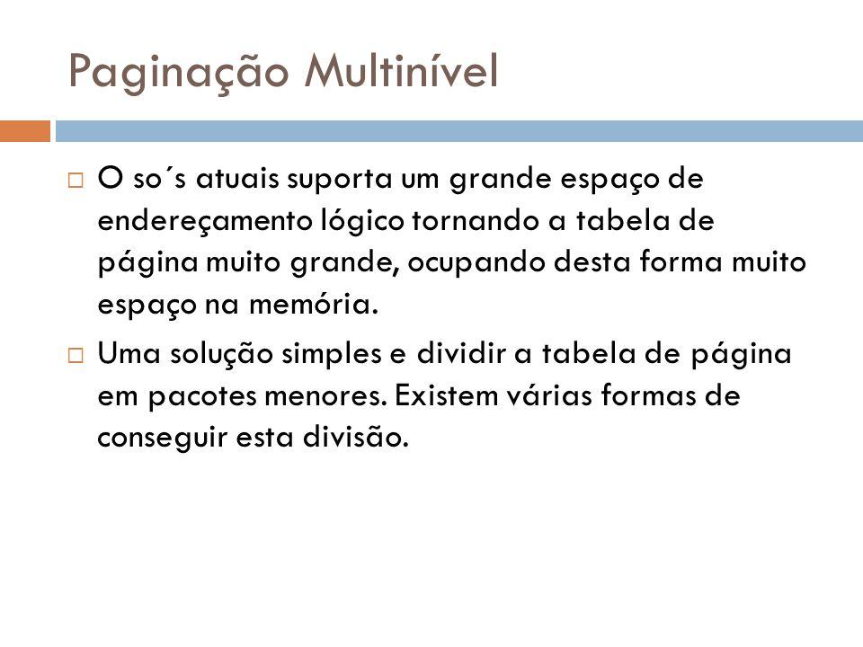 Paginação Multinível O so´s atuais suporta um grande espaço de endereçamento lógico tornando a tabela de página muito grande, ocupando desta forma mui