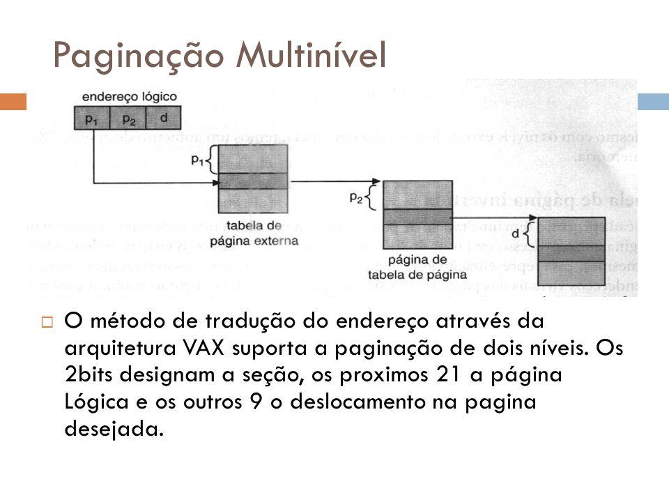 Paginação Multinível O método de tradução do endereço através da arquitetura VAX suporta a paginação de dois níveis. Os 2bits designam a seção, os pro