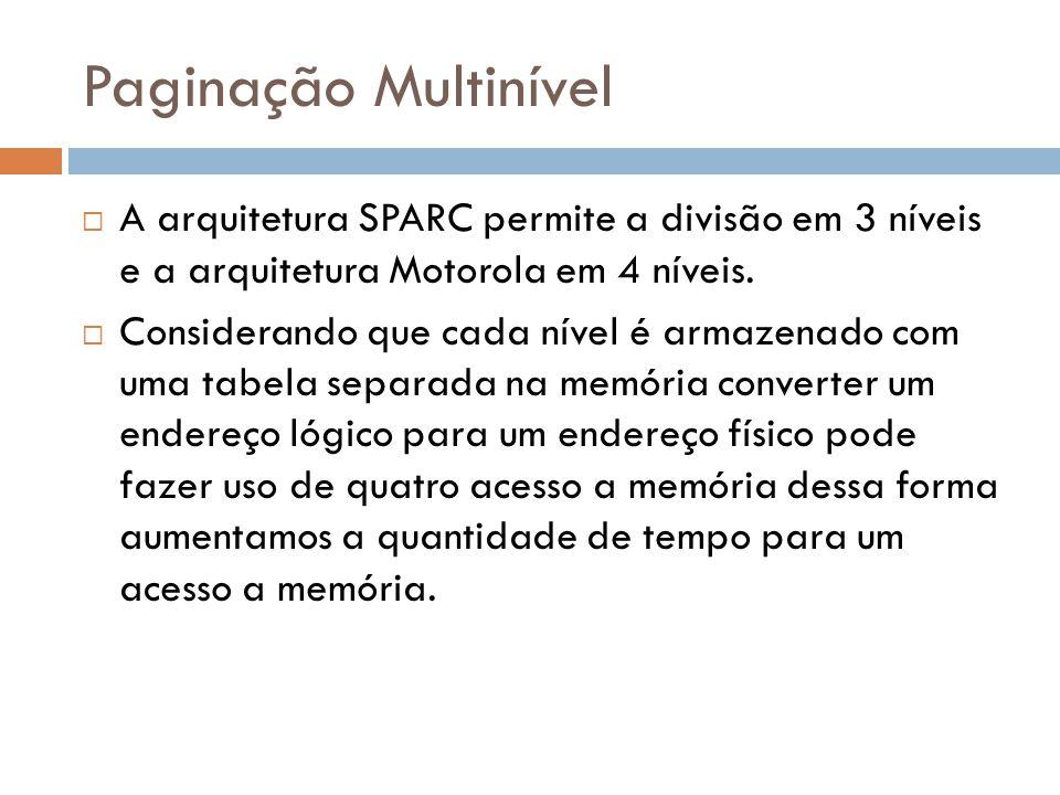 A arquitetura SPARC permite a divisão em 3 níveis e a arquitetura Motorola em 4 níveis. Considerando que cada nível é armazenado com uma tabela separa