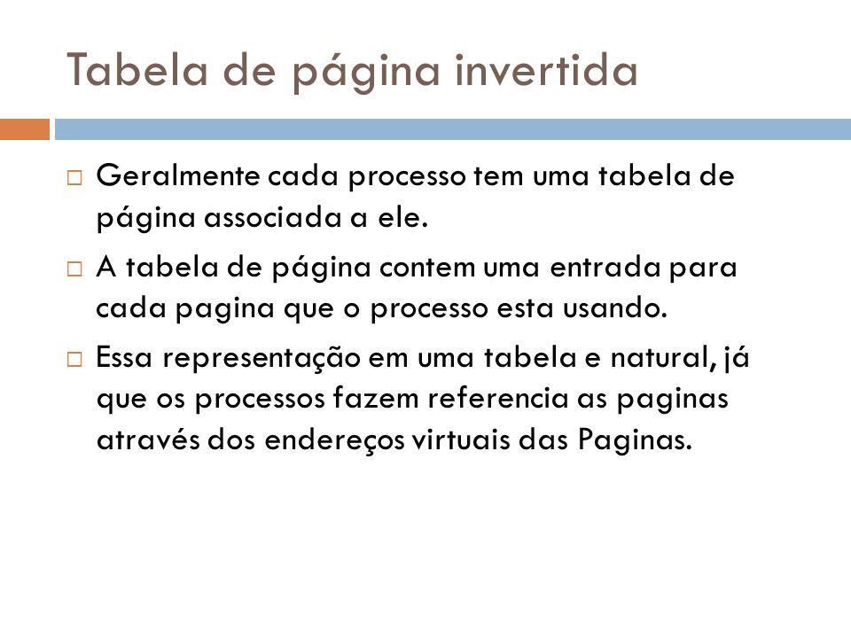 Tabela de página invertida Geralmente cada processo tem uma tabela de página associada a ele. A tabela de página contem uma entrada para cada pagina q