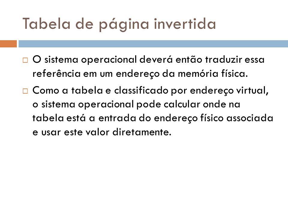 Tabela de página invertida O sistema operacional deverá então traduzir essa referência em um endereço da memória física. Como a tabela e classificado