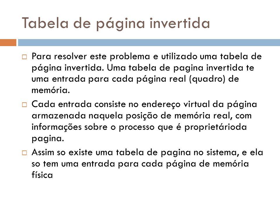 Tabela de página invertida Para resolver este problema e utilizado uma tabela de página invertida. Uma tabela de pagina invertida te uma entrada para
