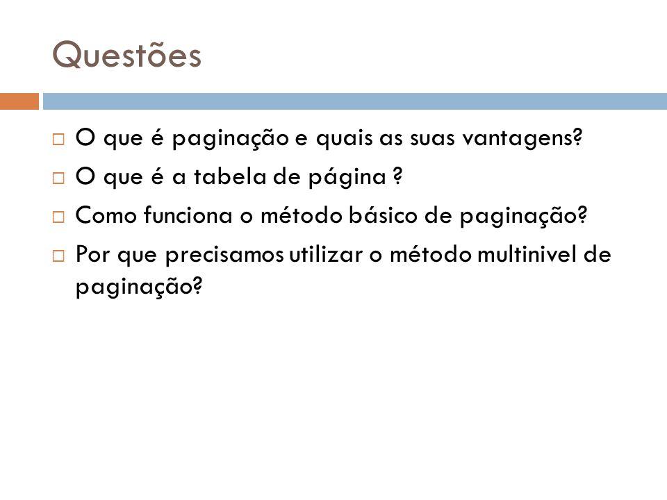 Questões O que é paginação e quais as suas vantagens? O que é a tabela de página ? Como funciona o método básico de paginação? Por que precisamos util