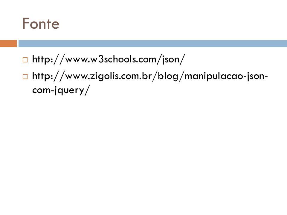 Fonte http://www.w3schools.com/json/ http://www.zigolis.com.br/blog/manipulacao-json- com-jquery/