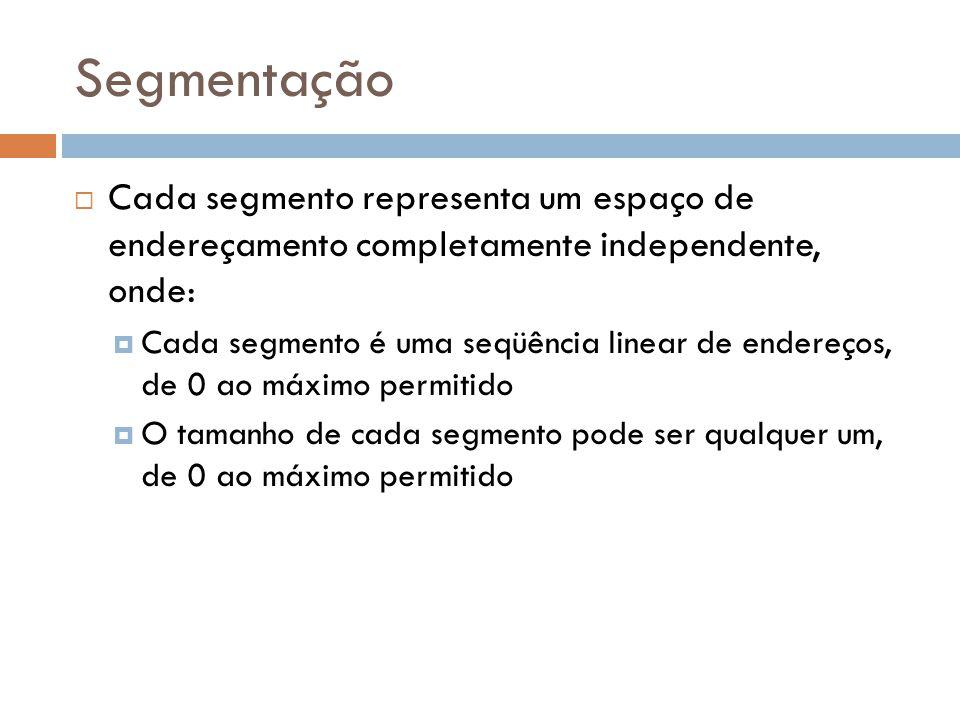 Cada segmento representa um espaço de endereçamento completamente independente, onde: Cada segmento é uma seqüência linear de endereços, de 0 ao máximo permitido O tamanho de cada segmento pode ser qualquer um, de 0 ao máximo permitido