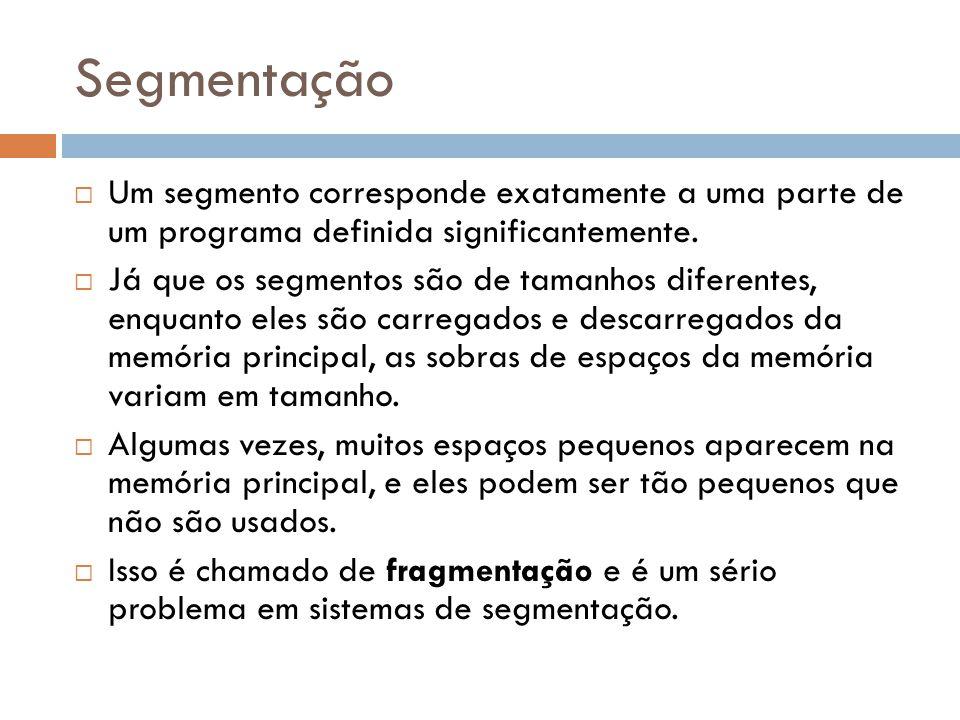 Um segmento corresponde exatamente a uma parte de um programa definida significantemente.