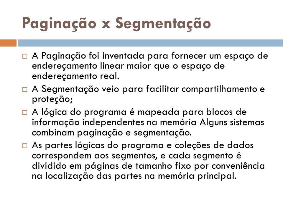 Paginação x Segmentação A Paginação foi inventada para fornecer um espaço de endereçamento linear maior que o espaço de endereçamento real.