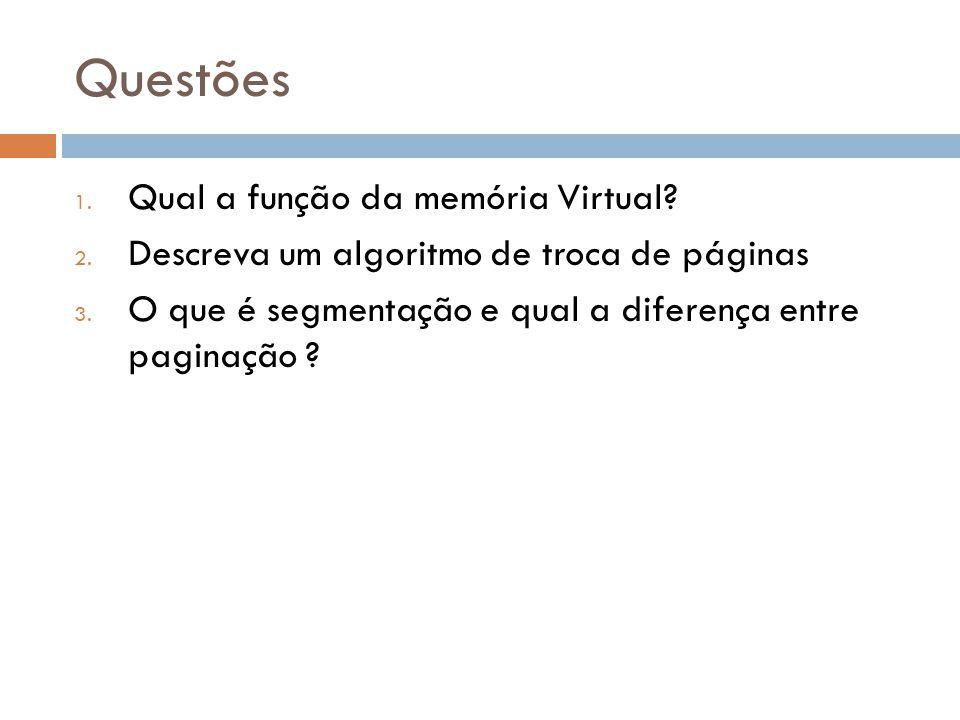 Questões 1.Qual a função da memória Virtual. 2. Descreva um algoritmo de troca de páginas 3.