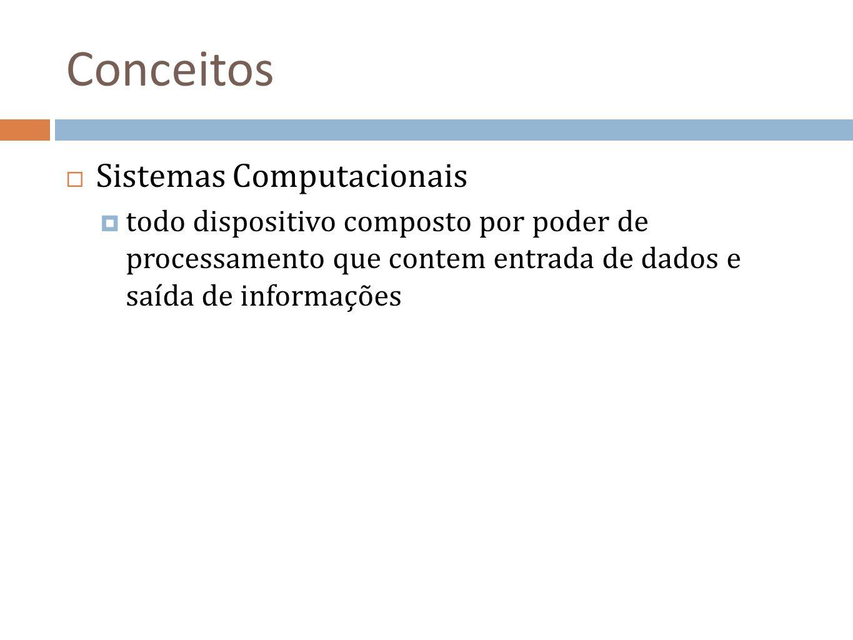 Conceitos Sistemas Computacionais todo dispositivo composto por poder de processamento que contem entrada de dados e saída de informações