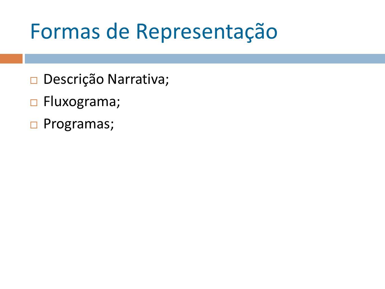 Formas de Representação Descrição Narrativa; Fluxograma; Programas;