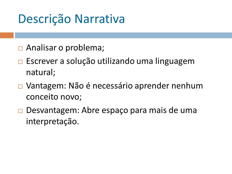Descrição Narrativa Analisar o problema; Escrever a solução utilizando uma linguagem natural; Vantagem: Não é necessário aprender nenhum conceito novo; Desvantagem: Abre espaço para mais de uma interpretação.