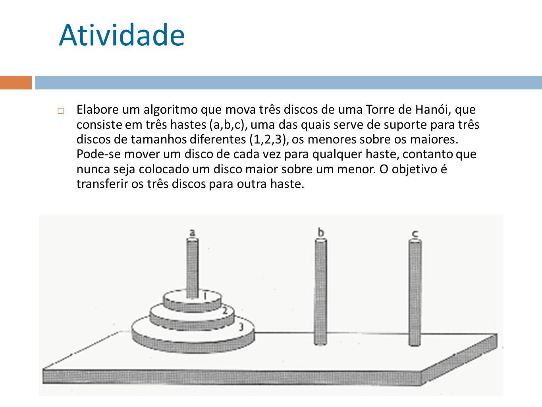Atividade Elabore um algoritmo que mova três discos de uma Torre de Hanói, que consiste em três hastes (a,b,c), uma das quais serve de suporte para três discos de tamanhos diferentes (1,2,3), os menores sobre os maiores.