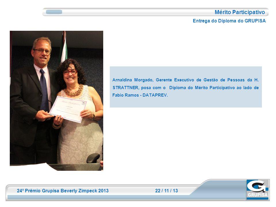 24º Prêmio Grupisa Beverly Zimpeck 2013 22 / 11 / 13 Mérito Participativo Entrega do Diploma do GRUPISA Arnaldina Morgado, Gerente Executivo de Gestão